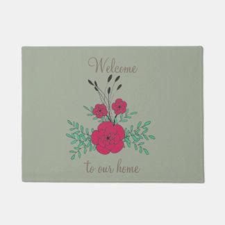 Recepción a nuestras flores verdes rojas dibujadas