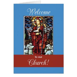 Recepción a nuestro buen pastor de la iglesia tarjeta de felicitación