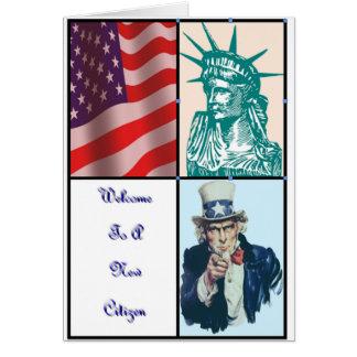 Recepción a un nuevo ciudadano tarjeta de felicitación