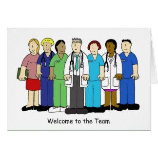 Recepción al equipo médico tarjeta de felicitación
