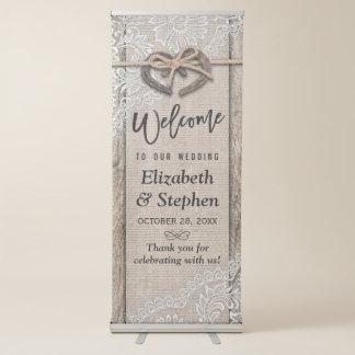 Recepción de madera rústica del boda del cordón de pancartas retráctiles