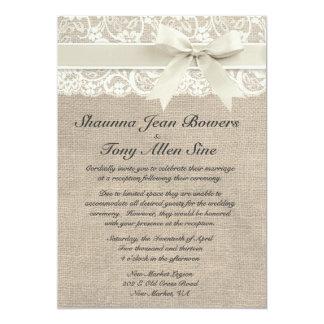 Recepción de matrimonio ene marfil de tejido de yu invitación 12,7 x 17,8 cm