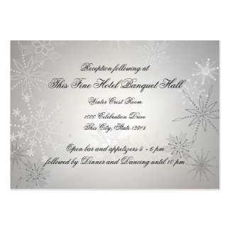 Recepción de plata de los copos de nieve plantilla de tarjeta de negocio