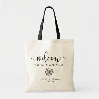 Recepción del boda del copo de nieve del invierno bolso de tela