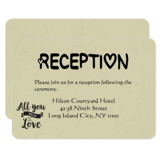 Recepción del vintage negra y boda del amor del invitación 8,9 x 12,7 cm