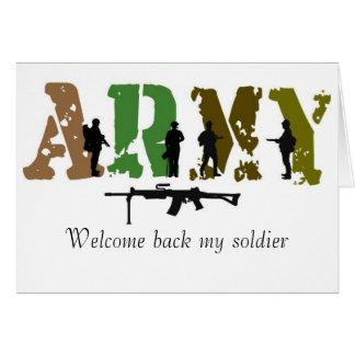 Recepción detrás mi soldado tarjeta