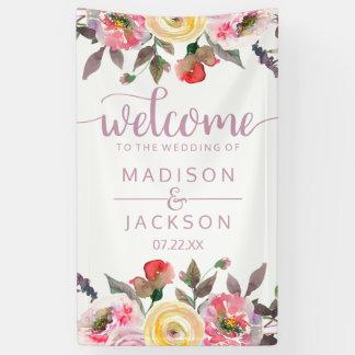 Recepción floral del boda de la acuarela color de