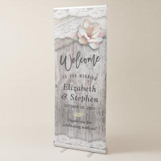 Recepción floral del boda del cordón de madera pancartas retráctiles