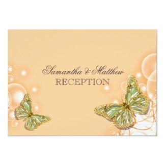 Recepción nupcial anaranjada verde de la mariposa invitación 12,7 x 17,8 cm