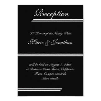 Recepción nupcial blanco y negro de las rayas invitación 11,4 x 15,8 cm