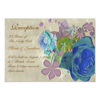 Recepción nupcial de los rosas del vintage invitación 8,9 x 12,7 cm
