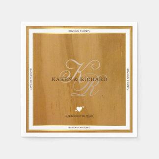 recepción nupcial de madera rústica del monograma servilletas de papel