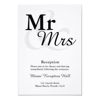 Recepción nupcial de Mr&Mrs Invitación 8,9 X 12,7 Cm