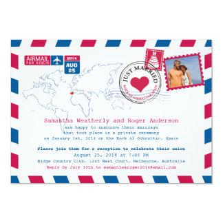 Recepción nupcial del poste del correo aéreo de invitación 12,7 x 17,8 cm