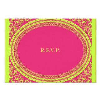 Recepción nupcial fluorescente/de neón RSVP Invitaciones Personales