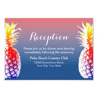 Recepción nupcial hawaiana de la piña invitación 8,9 x 12,7 cm
