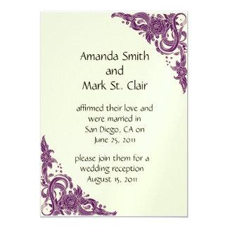 Recepción nupcial magenta y de marfil violeta del invitación 12,7 x 17,8 cm