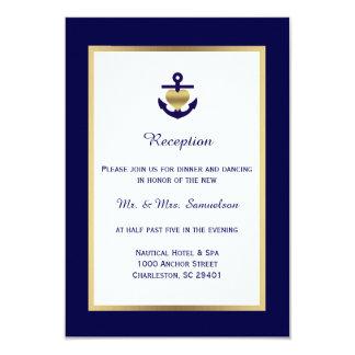 Recepción nupcial náutica elegante del oro de los invitación 8,9 x 12,7 cm