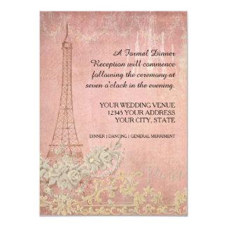 Recepción nupcial parisiense de París del vintage Invitación 11,4 X 15,8 Cm