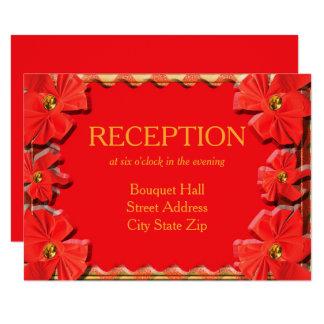 Recepción nupcial roja de las cintas de la invitación 8,9 x 12,7 cm