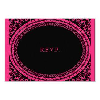 Recepción nupcial rosada fluorescente RSVP del Invitación 8,9 X 12,7 Cm