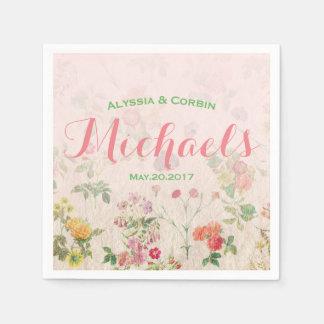 Recepción nupcial rosada romántica floral elegante servilleta de papel