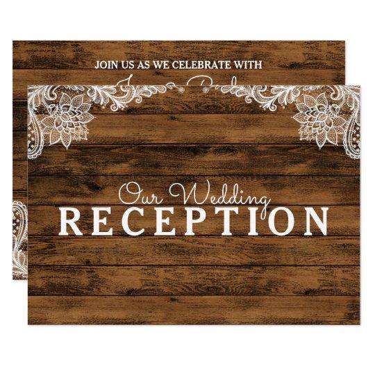 Recepción nupcial rústica de madera y del cordón invitación 8,9 x 12,7 cm