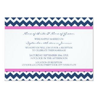 Recepción nupcial solamente Chevron azul rosado Invitación 12,7 X 17,8 Cm