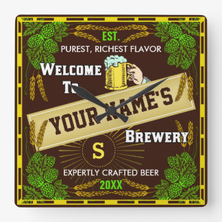 Recepción personalizada de la cervecería: Cerveza Reloj Cuadrado