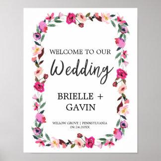 Recepción romántica del boda de la guirnalda del póster