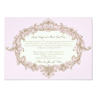 Recepción rosada del boda del marco del vintage de invitación 12,7 x 17,8 cm