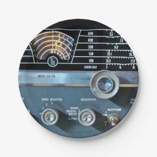 Receptor de radio de la onda corta del vintage plato de papel