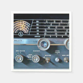 Receptor de radio de la onda corta del vintage servilleta desechable