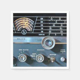 Receptor de radio de la onda corta del vintage servilletas desechables