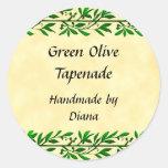 Receta de encargo de la hoja verde oliva o etiquet etiquetas redondas