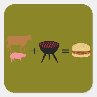 Receta de la hamburguesa del tocino pegatina cuadrada