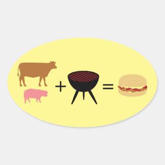 Receta de la hamburguesa del tocino pegatina ovalada