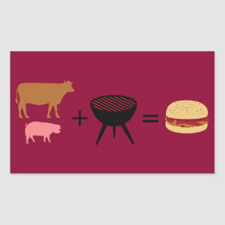 Receta de la hamburguesa del tocino pegatina rectangular