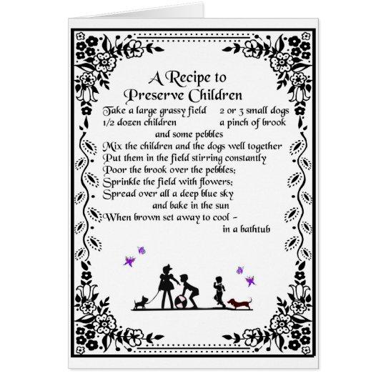 receta para preservar a niños tarjeta de felicitación