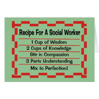 Receta para un asistente social tarjeta de felicitación