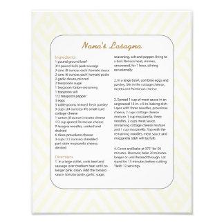 Receta preferida Chevron - Lasagna de la familia Arte Fotográfico