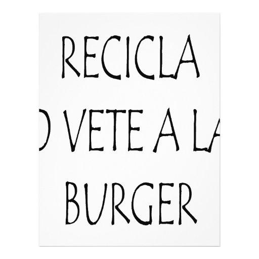 Recicla O Vete una hamburguesa del La Tarjeta Publicitaria