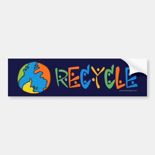 Reciclaje colorido pegatina para coche