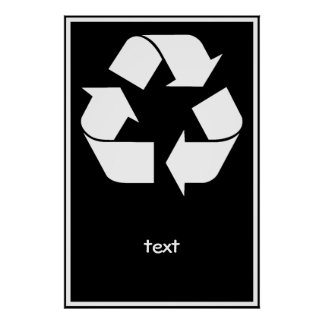 Reciclando el símbolo - blanco (para los fondos póster