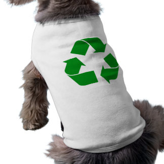 Reciclando el símbolo - verde camiseta sin mangas para perro