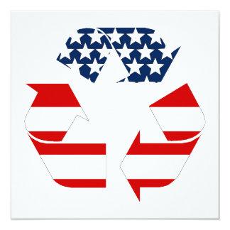 Reciclando símbolo - blanco y azul rojos invitación 13,3 cm x 13,3cm