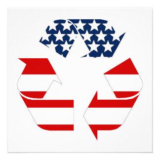 Reciclando símbolo - blanco y azul rojos comunicados personales
