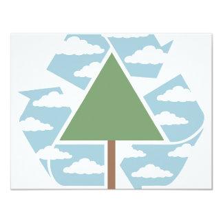 Recicle - el árbol -1 invitación 10,8 x 13,9 cm