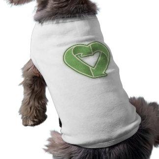 Recicle el corazón - verde camiseta sin mangas para perro