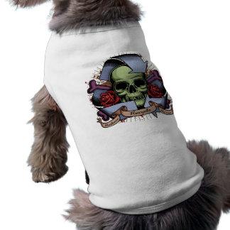 Recicle el cráneo w/Roses Camiseta Sin Mangas Para Perro